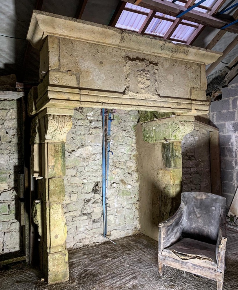 Monumental Antique 16th Century Renaissance Stone Fireplace