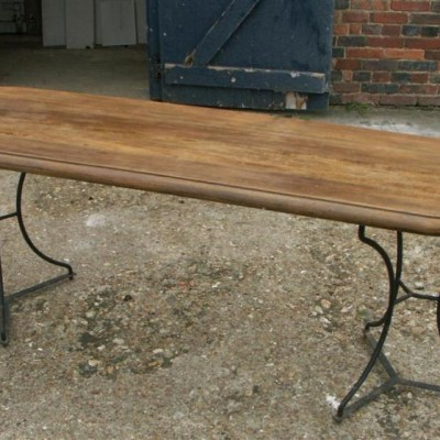 oak topped iron pedestal base table