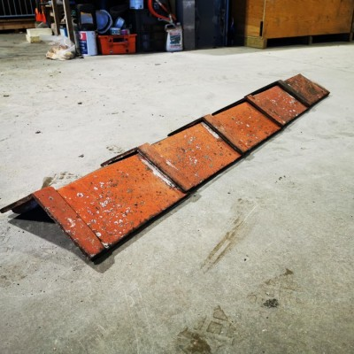 Batch of 107 Reclaimed Red Clay Capped Angle 120 Degree Roof Ridge Tiles