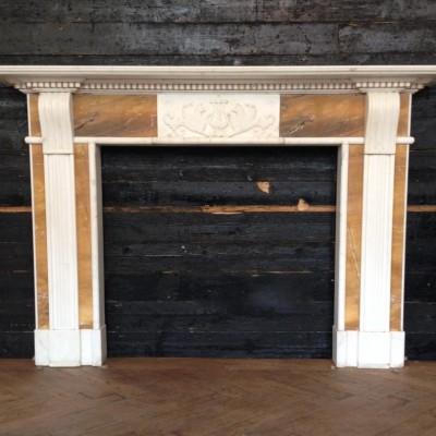 Georgian Style Statuary & Sienna Marble Fireplace Surround