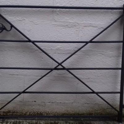 "Antique wrought iron pedestrian ""estate"" gate."