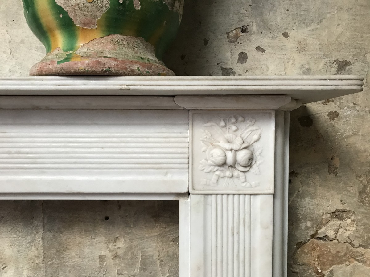 Reclaimed 19th Century Style English Marble Fireplace