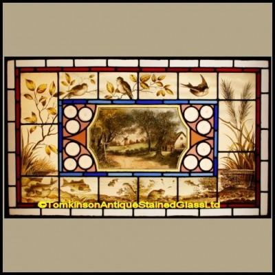 Victorian Stained Glass Window – Arts & Crafts Pond Scene
