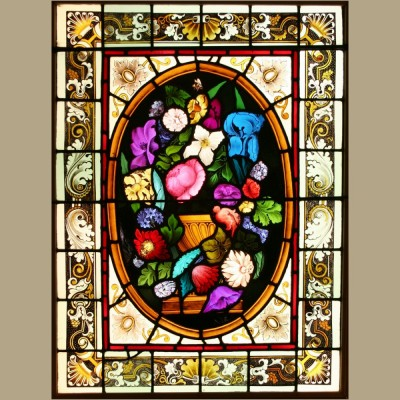 Antique Victorian Stained Glass Window – Urn of Flowers