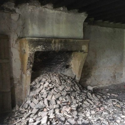 Antique French Stone Fireplace Dated To 1703