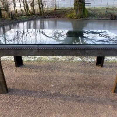 Galvanised Old water tank table