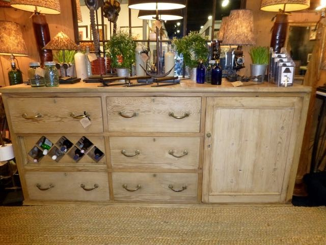 Victorian pitch pine sideboard with fruit wood top