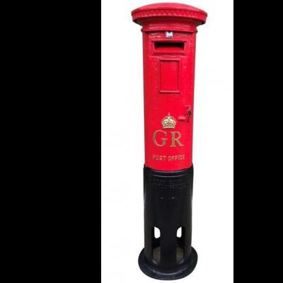 Reclaimed Original Cast Iron Red GR Pillar Box