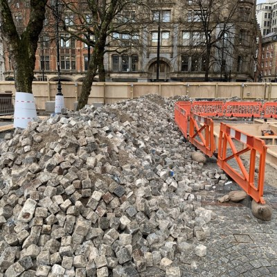500m3 of Granite Cobbles extracted from Manchester Town Hall