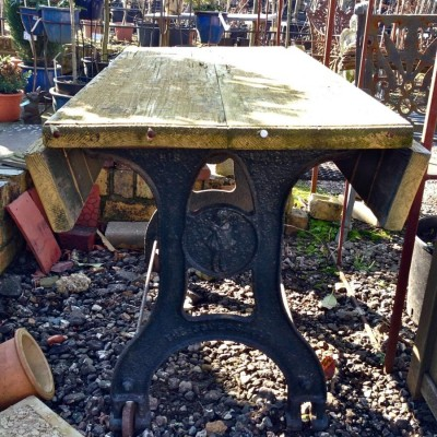 Antique Wooden Topped Cast Iron Table