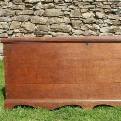 large antique oak chest  coffer - 18th century