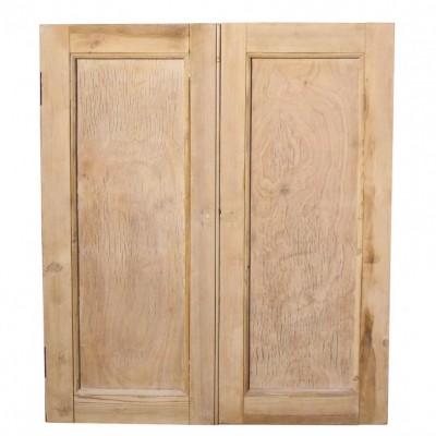 A pair of reclaimed stripped pine cupboard doors