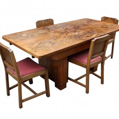 An original Art Deco burr walnut extending dining table