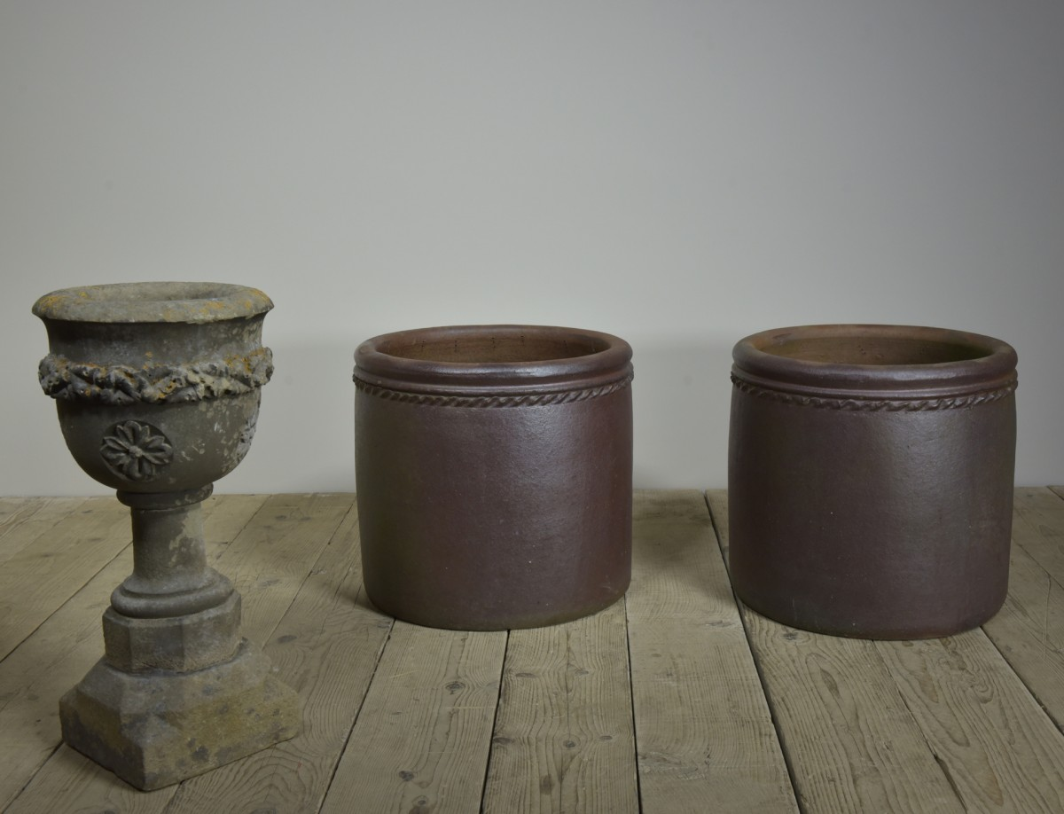 Large Salt Glazed Planters - Pair