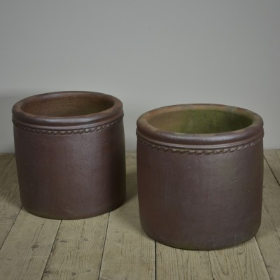 Large Salt Glazed Planters - Pair