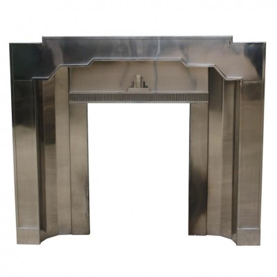 An unusual original stainless steel Art Deco fireplace