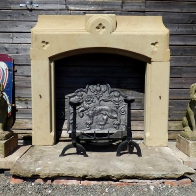 Reclaimed Hand Carved Stone Fireplace