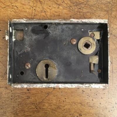 Victorian steel white-painted black-japanned door rim lock