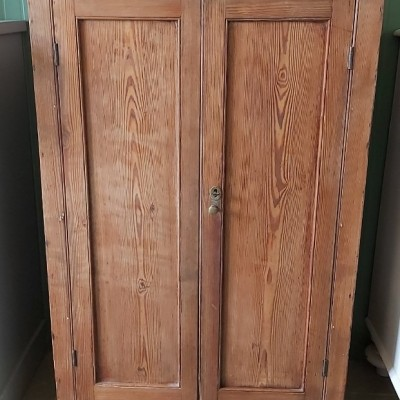 Old pitch-pine school cupboard