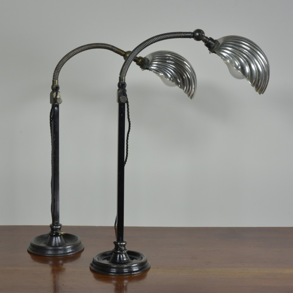 Pair Clam Shell Task Lamps