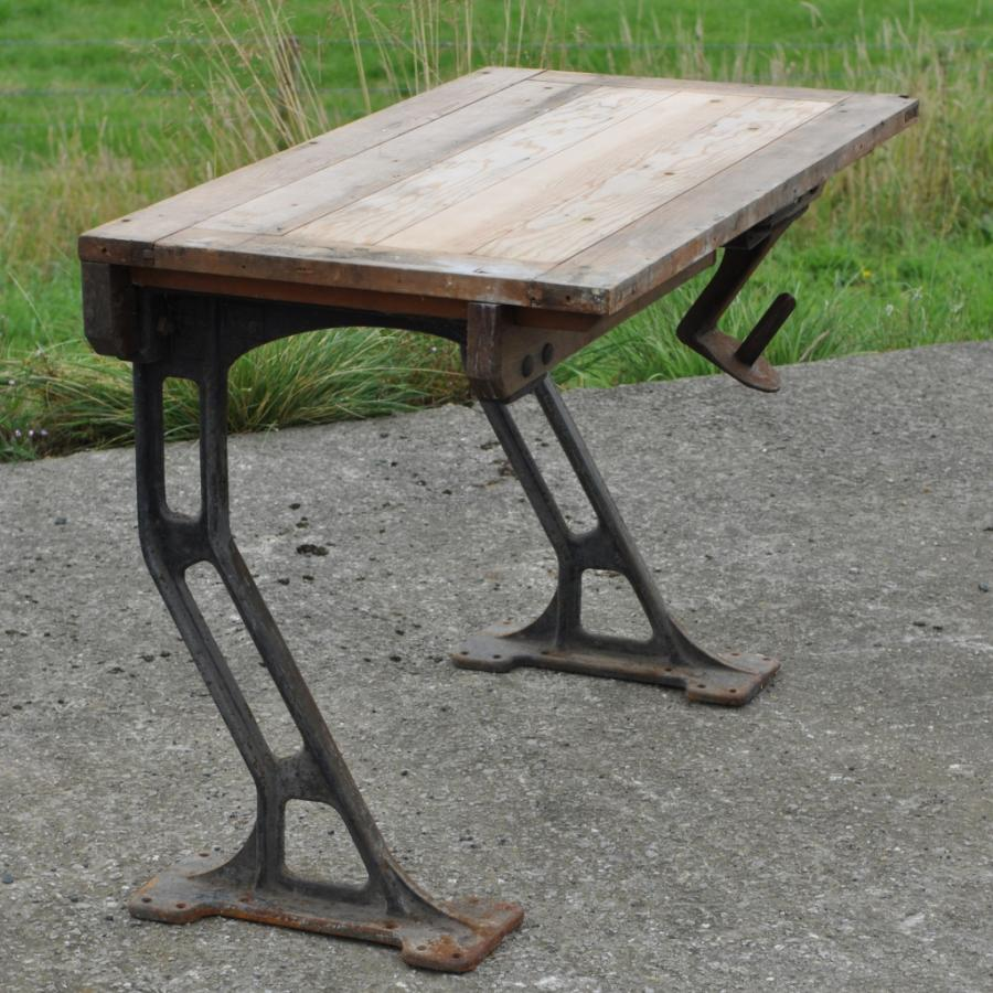 cantilevered cast iron and pine desk