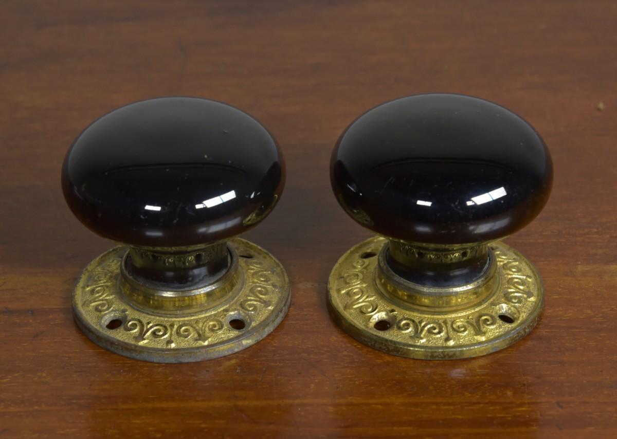 Ceramic & Brass Doorknobs - Antique Two Pairs