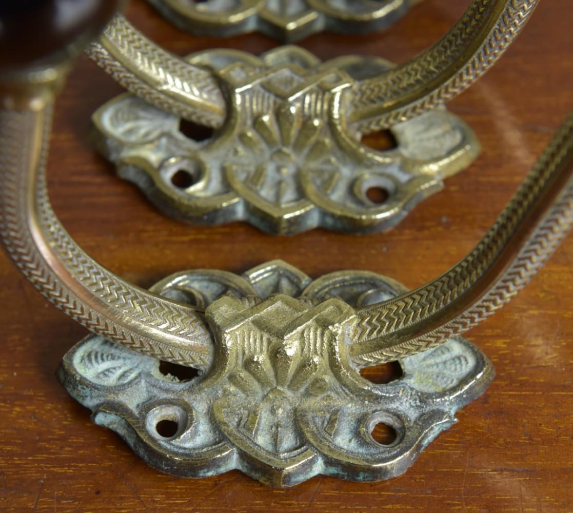 Victorian Coat Hooks - Brass and Ceramic