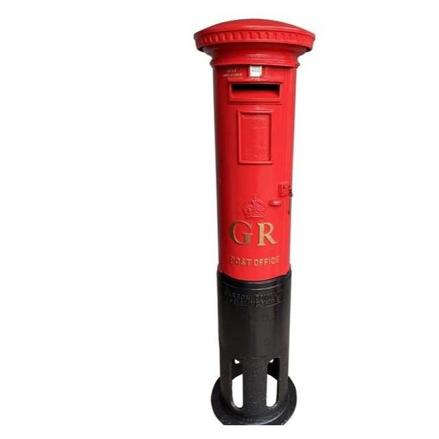 Original Antique Reclaimed Red Cast Iron George 5th Pillar Box