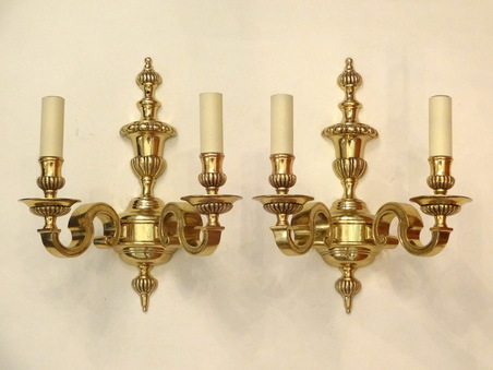 for sale pair of cast brass edwardian wall lights circa1910 salvoweb uk
