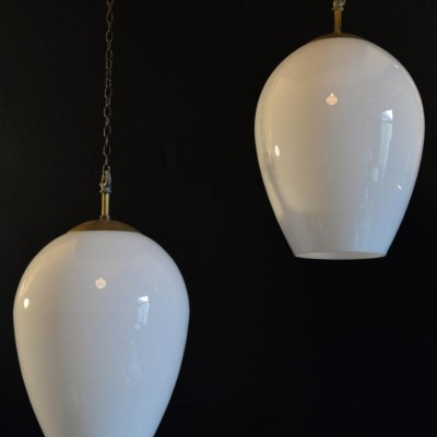 large scale tear drop shaped vintage opaline pendant shades