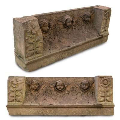 Antique Carved Red Sandstone Cherub Statuary Element