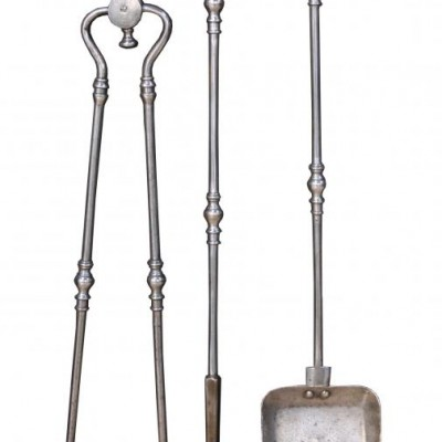 A set of early 19th Century polished steel fire irons / tools