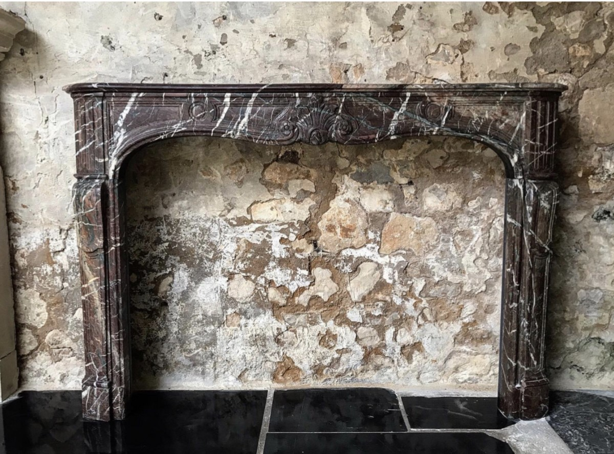 Antique French Marble Louis XV Fireplace
