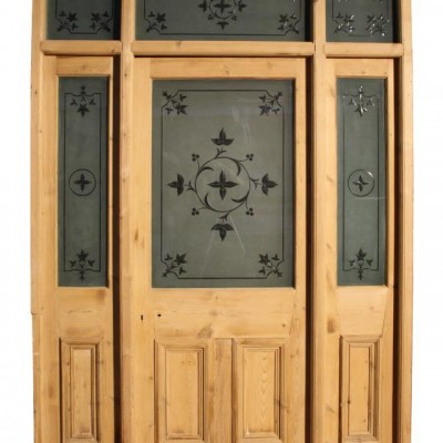 A 19th C etched glass and pine entranceway