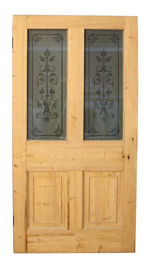 A 19th Century etched glass and pine door