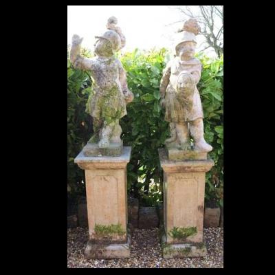 Vintage Cast Stone Roman Boy Warrior Garden Statues