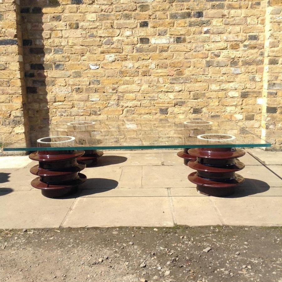 Reclaimed glass table