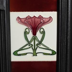 Antique Art Nouveau Tiled Combination Fireplace