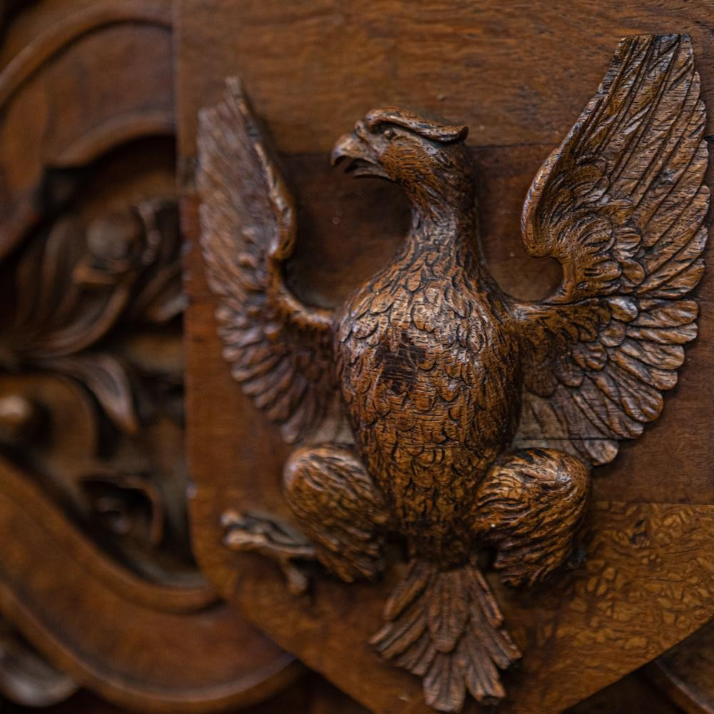 Antique Carved Wooden Element With Eagle