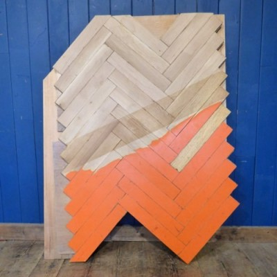 Reclaimed oak parquet / strip flooring - Orange