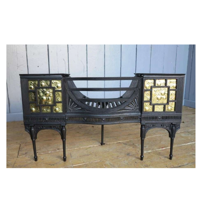 Exceptional Rare Arts and Crafts Cast Iron & Brass Hob Grate