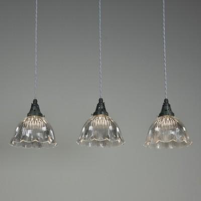 Trio Antique Holophane Pendant Lights