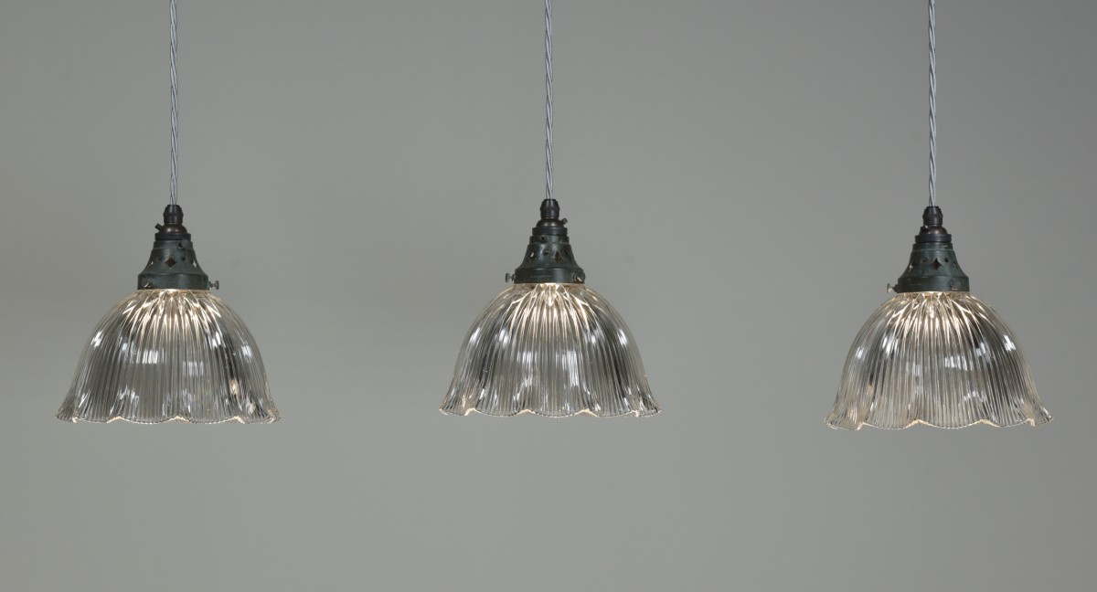 Trio Antique Holophane Pendant Lights
