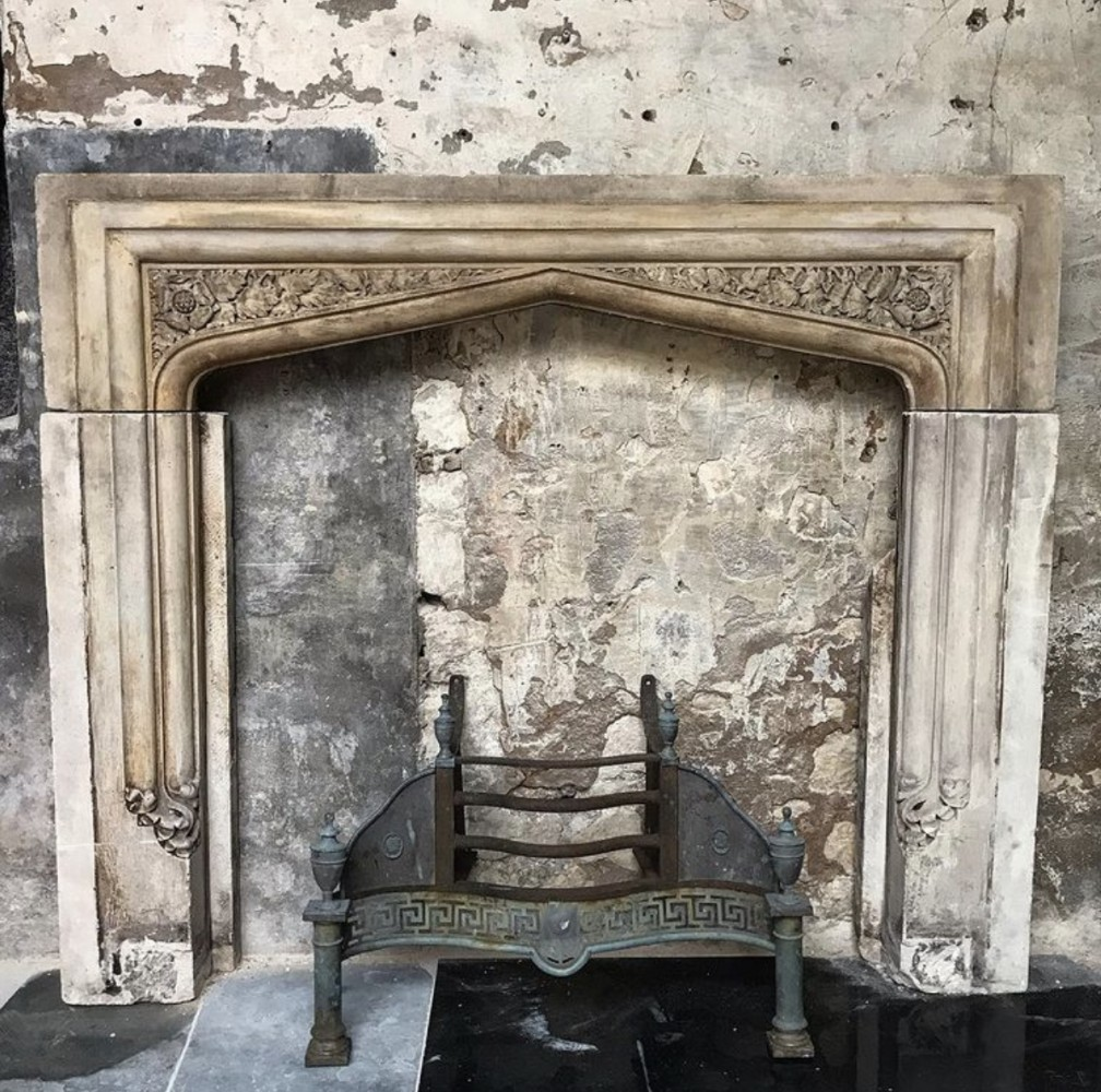Exceptional 19th Century Carved Portland Stone Gothic Revival Fireplace