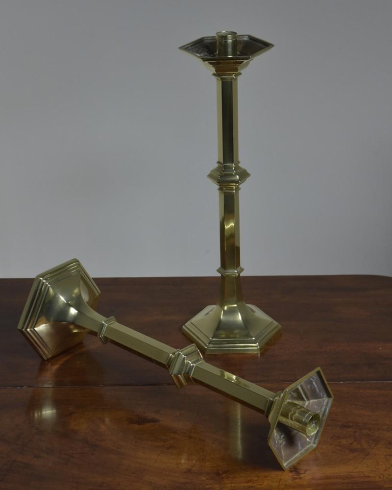 Antique Pair Candlesticks -Brass Hexagonal