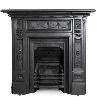 Large Antique Cast Iron Combination Fireplace