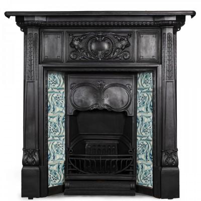 Antique Art Nouveau Cast Iron Combination Fireplace