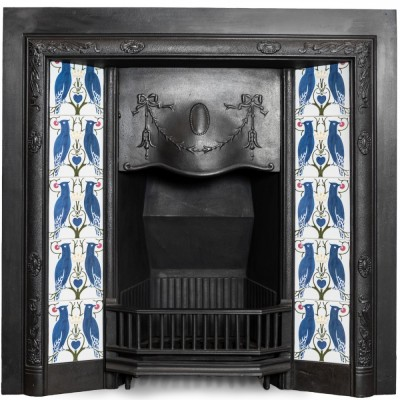 Antique Victorian Cast Iron Insert with Vibrant Blue Bird & Floral Tiles
