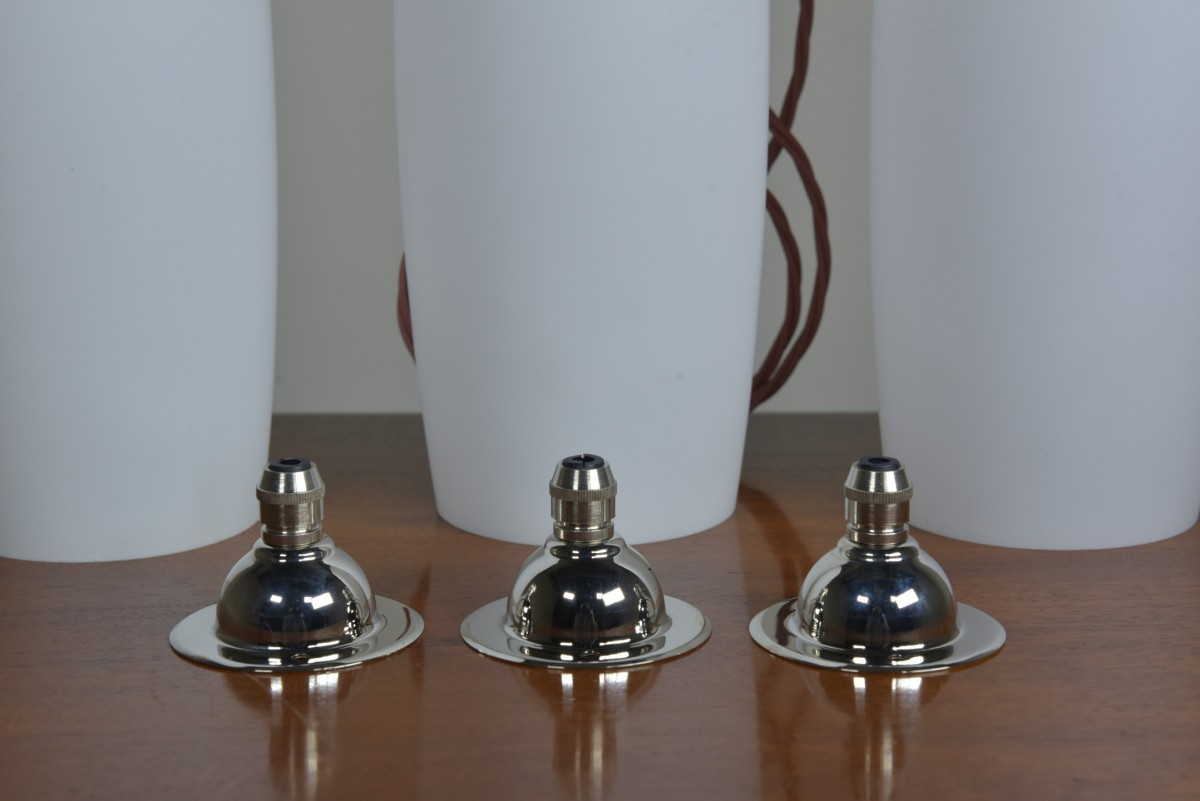 Trio Opal Shades - Silvered Brass Fittings