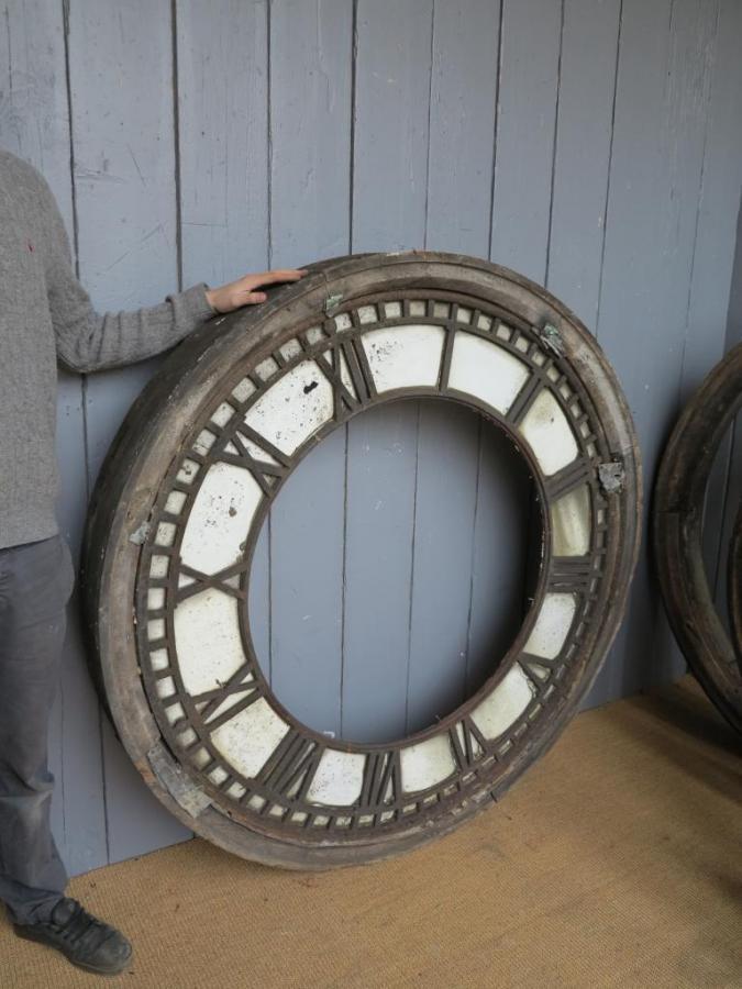 Antique Cast Iron Clock Faces with Wooden Frames - 5ft Diameter